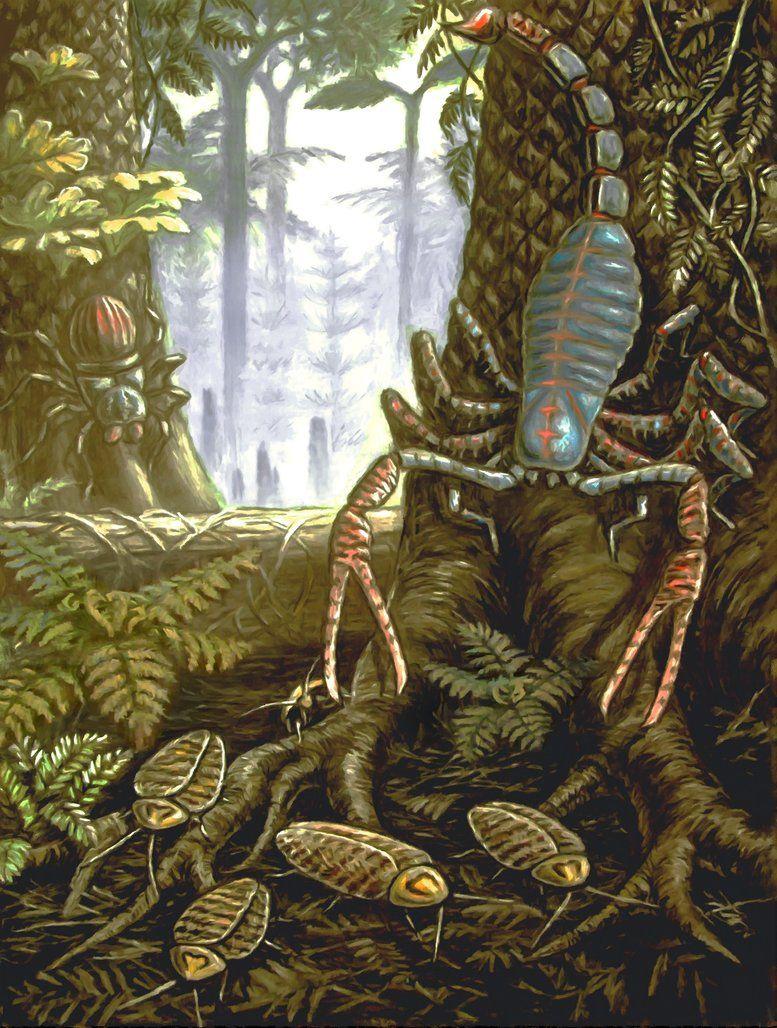 Pulmonoscorpius kirktonensis by Andrey Belov #prehistoriccreatures