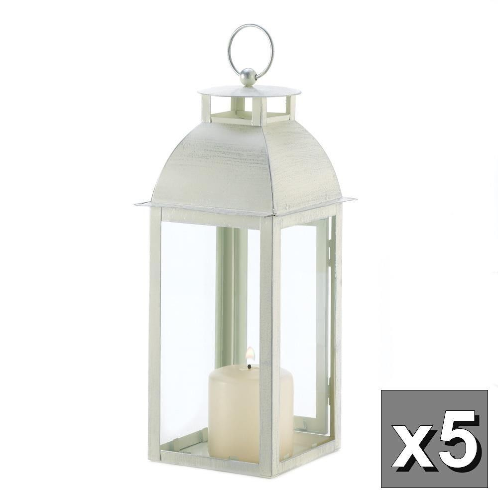 5 Distressed pearl WHITE shabby Candle Lantern holder wedding table ...