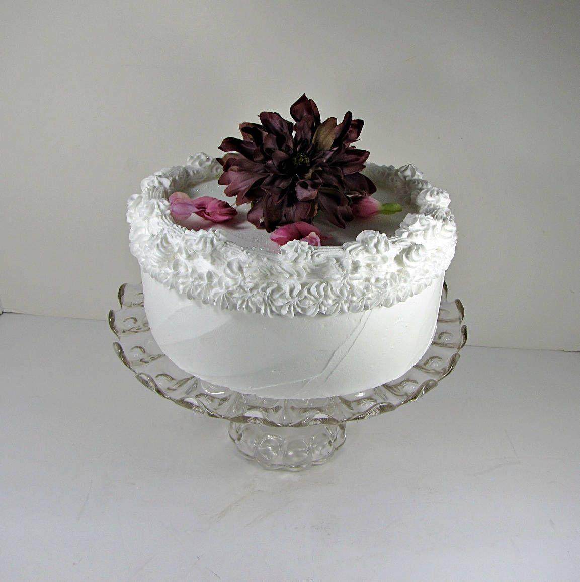 Antique pressed glass cake stand scallop rim tiny