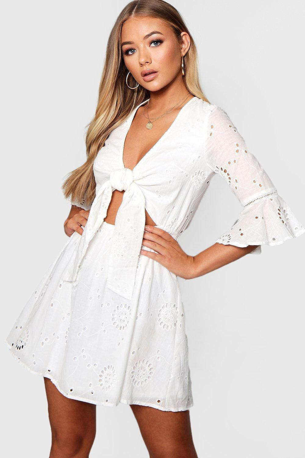 f7e4e887c09e Click here to find out about the Knot Front Broderie Anglaise Skater Dress  from Boohoo, part of our latest Skater Dresses collection ready to shop  online ...