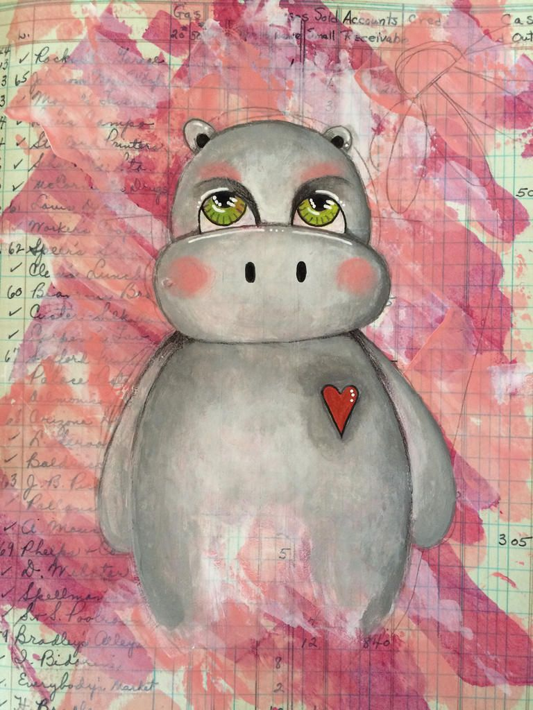 Whimsical hippo in my art journal vintage ledger from a class I taught this weekend at art from the heart | par Tr4cy1973