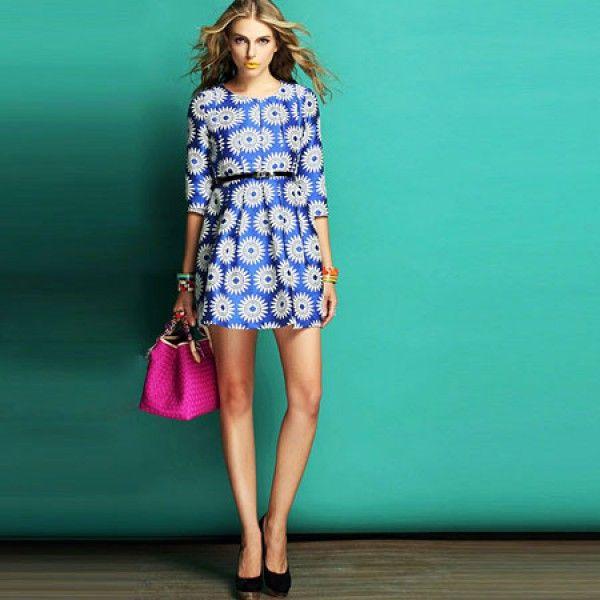 J42940 Europe fashion three quarter sleeve embroidery a-line dress blue