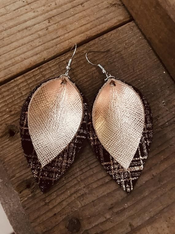 Photo of Leather Earrings , Rose gold Plaid Leather Earrings, Genuine Leather Jewelry,  Gifts for Her, Gifts for Wife, Gifts for Grad