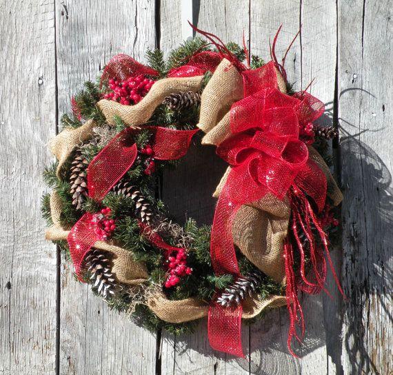 Christmas Wreath Holiday Wreath Burlap Wreath by KathysWreathShop