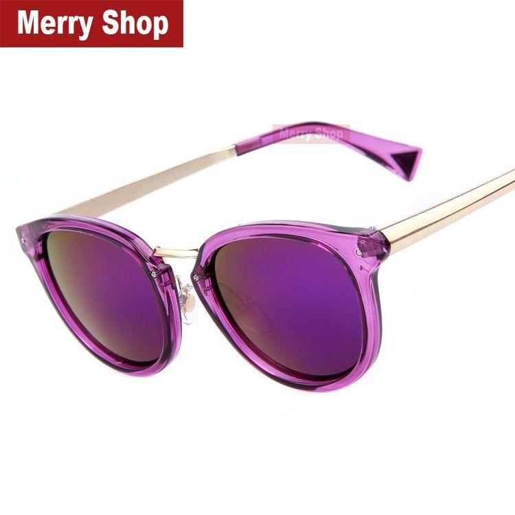 7fdb92efa5 Cheap 2015 diseñador moda de nueva marca mujeres Purple Mirroed gafas de sol  mujeres Dazzle color de la montura de la lente del espejo Cat Eye  Sunglasses, ...