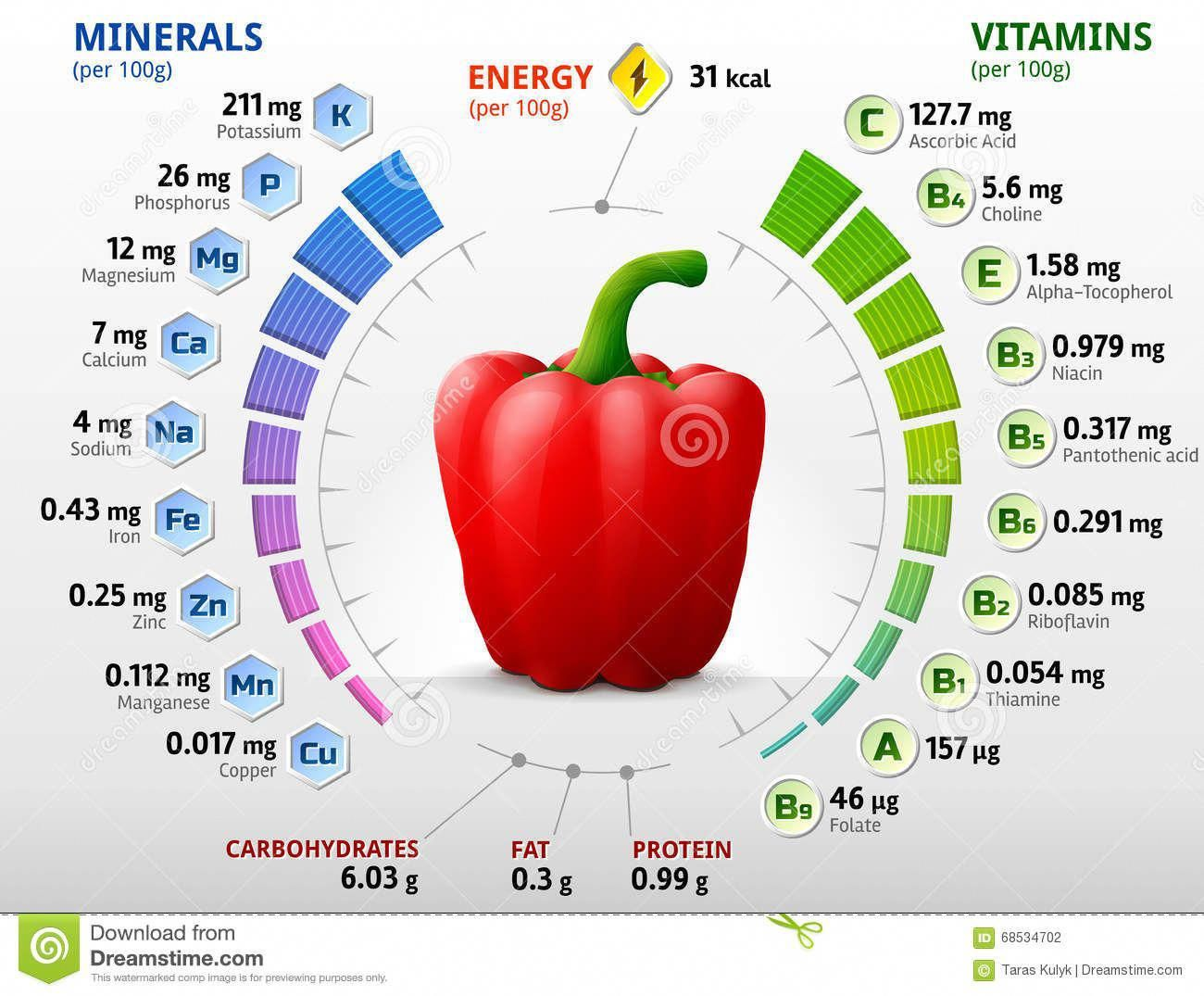 Vitamins And Minerals Of Red Bell Pepper Illustration About Information Mineral Circle Facts Data Capsicum Vitamins And Minerals Nutrition Chart Vitamins