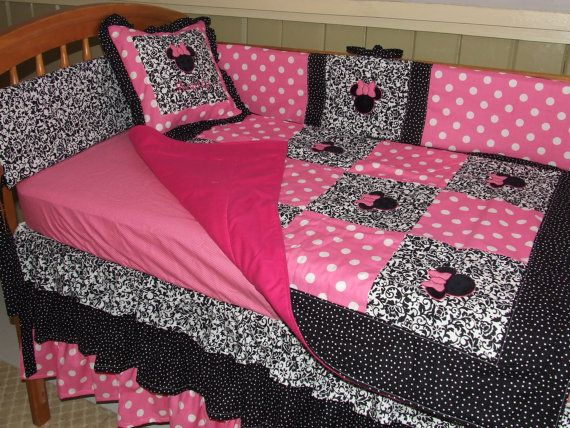 Best Pink N Black Damask Minnie Mouse Personalized 5 By 640 x 480