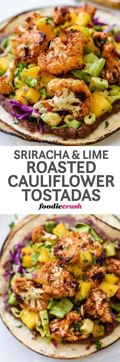 Roasted Cauliflower Mexican Tostadas Recipe with Sriracha, Lime and Mango Salsa | Vegetarian Tostadas Recipe | Roasted Cauliflower Recipe |