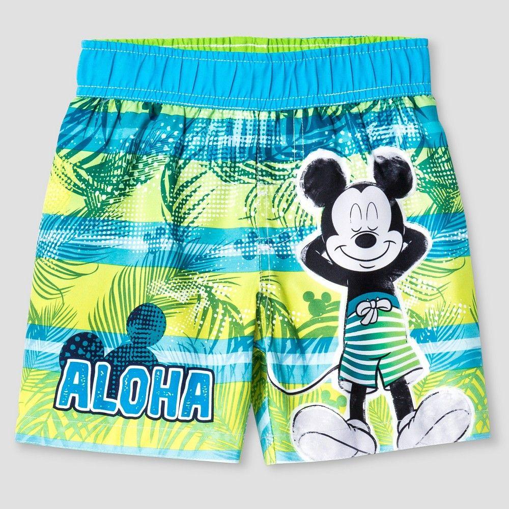 a25cf9aa305b9 Toddler Boys' Mickey Mouse Aloha Swim Trunk - Green & Blue 3T, Toddler Boy's