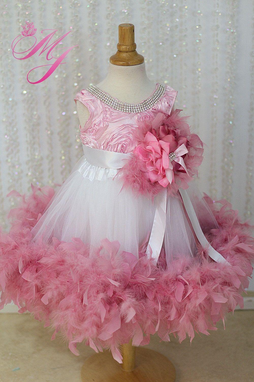 Dusty rose jewelled flower girl dress by sharpsissors on