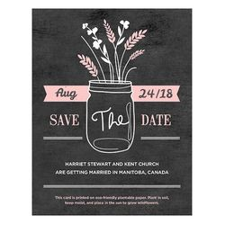 Rustic Wedding Save the Date- embedded with non-GMO wildflower or herb seeds.