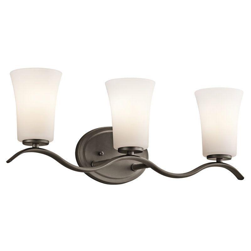 Photo of Kichler 45376NI Brushed Nickel Armida 3 Light 23″ Wide Vanity Light Bathroom Fixture with Etched Glass Shades – LightingDirect.com