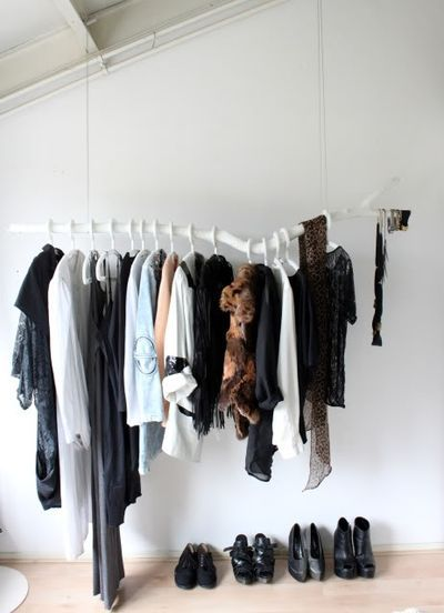 Wooden white clothes rack
