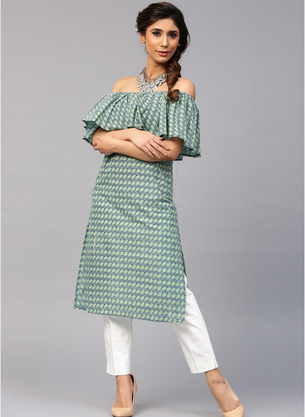 3446c90c1422 Aks Green Cotton Printed Off Shoulder Kurta  Green  Cotton  Printed   OffShoulder  Kurta  Summer  Kurtis  Casual