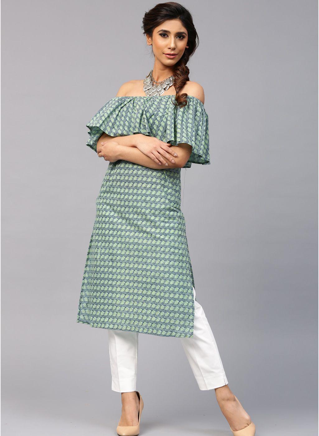 98f0f413ca1 Aks Green Cotton Printed Off Shoulder Kurta  Green  Cotton  Printed   OffShoulder  Kurta  Summer  Kurtis  Casual
