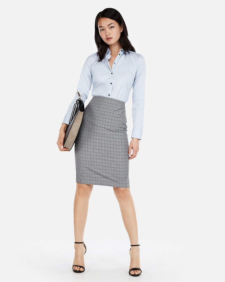 005873a00 Express High Waisted Plaid Pencil Skirt | Hot Fashion in 2019 ...