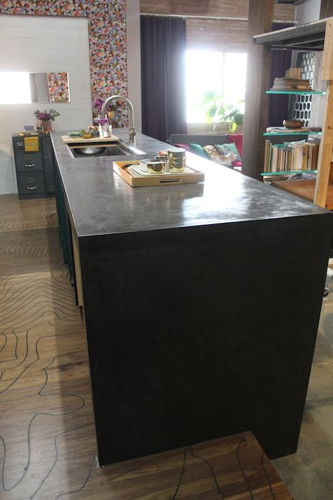 How To Make A Waterfall Concrete Counter Top With Plywood Ardex Feather Finish Diy Cement Kitchen Countertop Easy Steps Black Stained Island