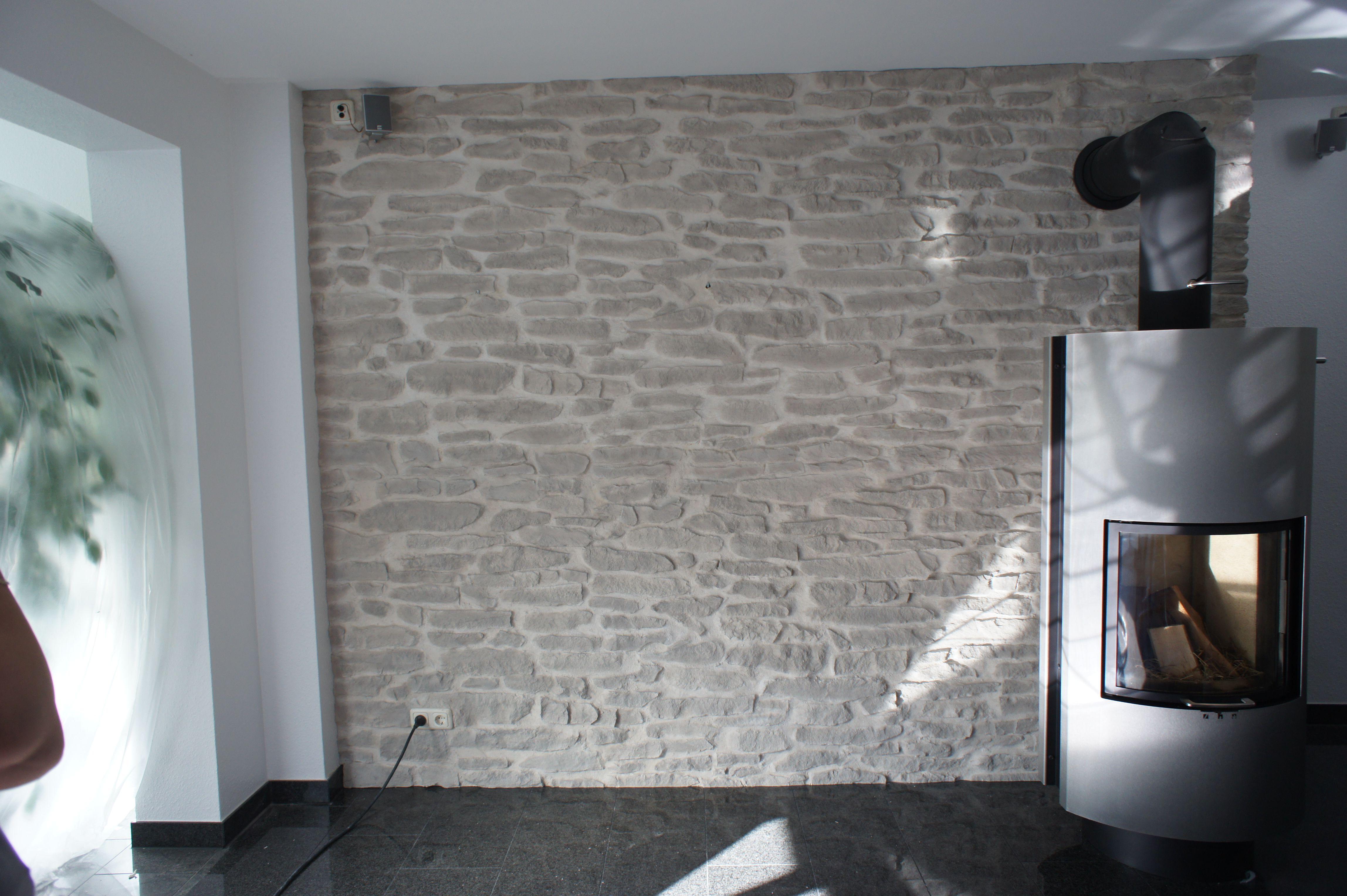 Schwedenofen Stein Wand Lajas Gris Steinwand Wohnzimmer Wandverkleidung Wandverkleidung Steinoptik