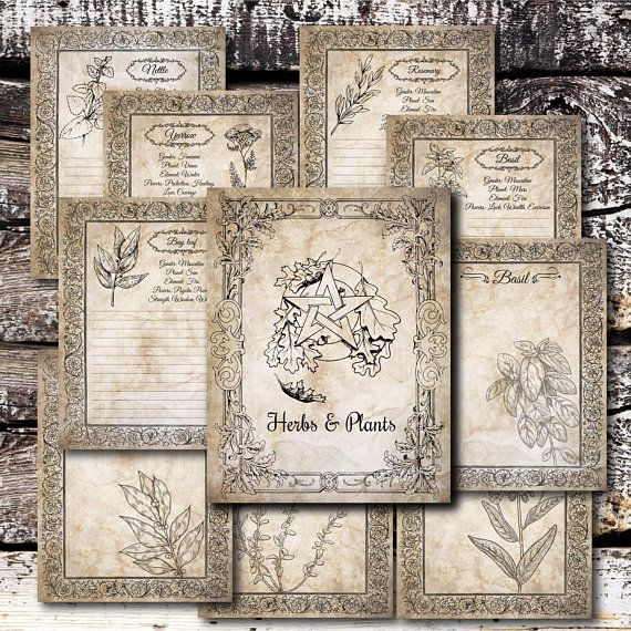 Printable Book of Shadows Herbs Pages PDF, Spell Book, Witch
