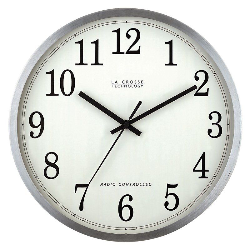 La Crosse Technology Radio Controlled Aluminum Analog 12 Inch Wall Clock Www Hayneedle Com Atomic Wall Clock Wall Clock Clock