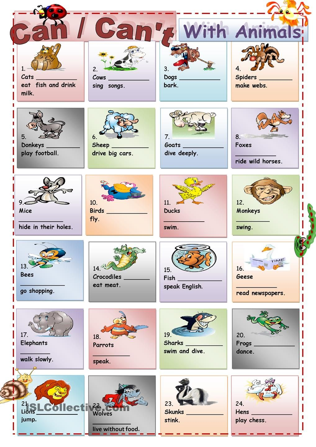 can cant with animals english worksheets english lessons english for students y english. Black Bedroom Furniture Sets. Home Design Ideas
