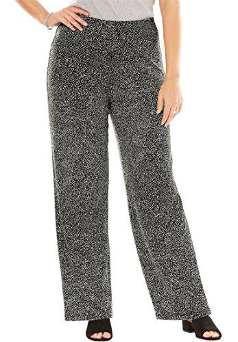 f73179a2595 Fashion Bug Women s Plus Size Stretch Travel Pants Black Ivory  Sprinkle