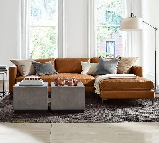Jake Leather Sofa with Chaise Sectional #livingroombrownandblue