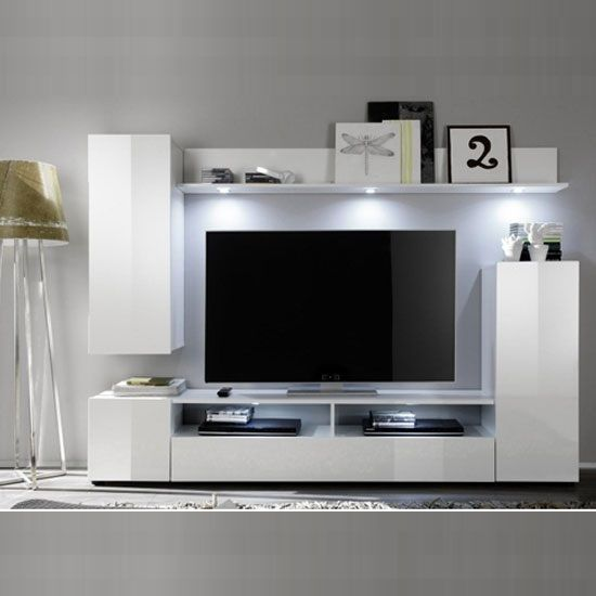 Dos Living Room Furniture Set 1 In White High Gloss Furnitureinfashion Tvstand