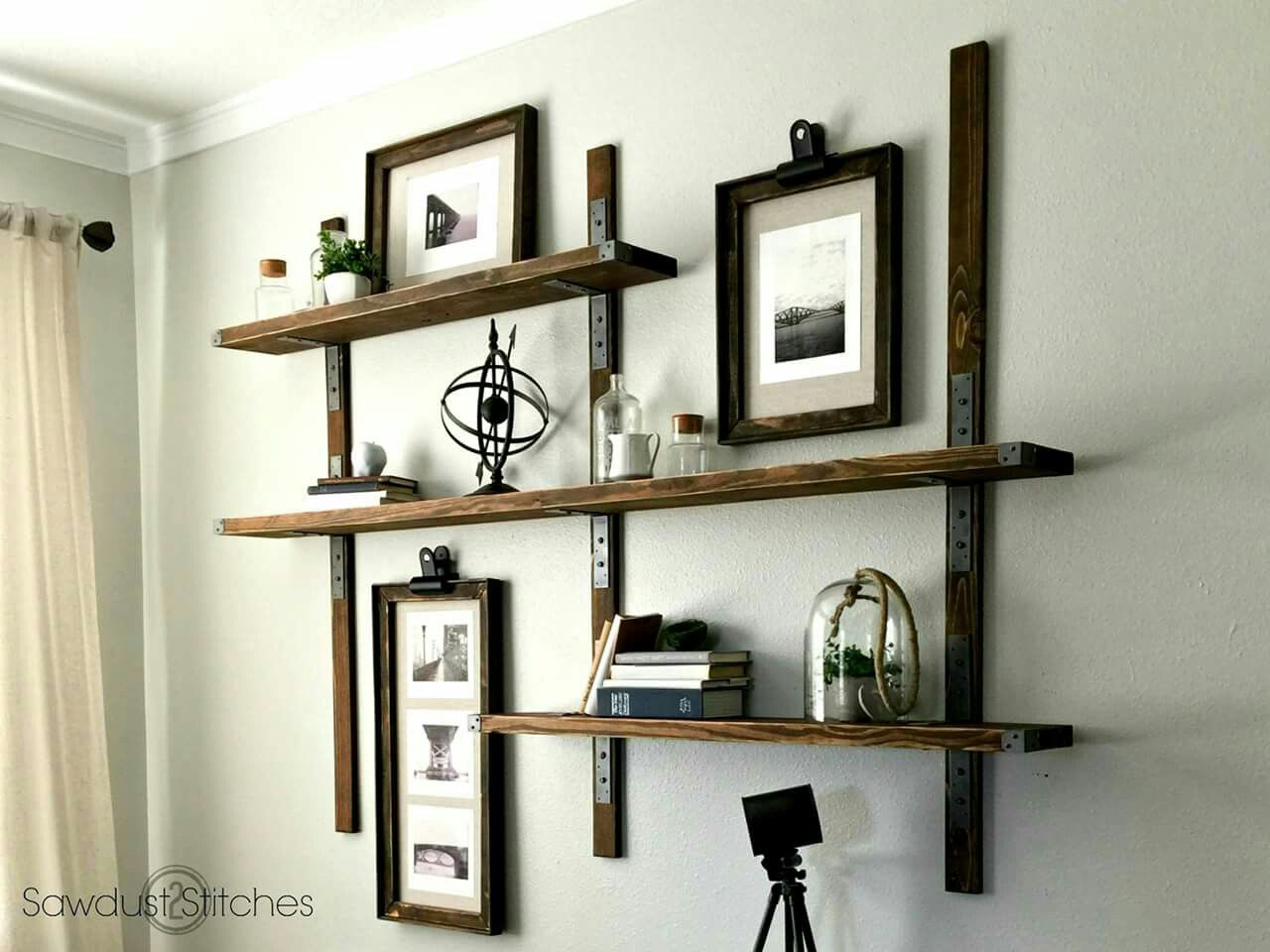 cool diy industrial shelves diy pinterest shelving wall rh pinterest co uk Wall Mounted Kitchen Shelf Industrial Metal Wall Mounted Shelving
