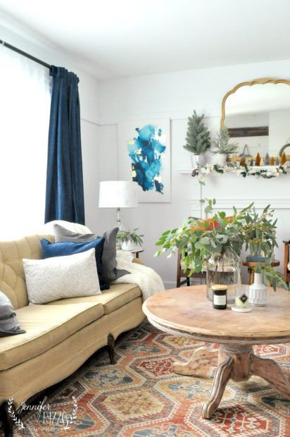 MidWinter Living Room Decor is part of Winter decor Bathroom - When the tree comes down it's good time to add midwinter living room decor with seeded eucalyptus, a boho midcentury modern decor ideas