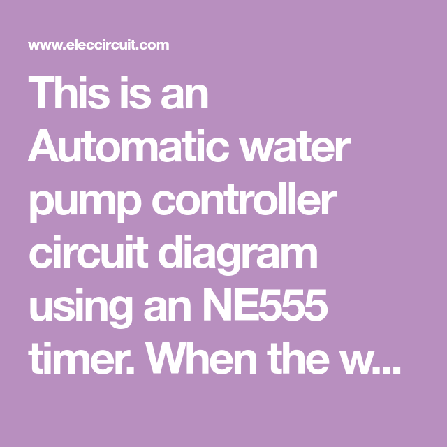 Automatic water level controller | Water pumps, Automatic ...