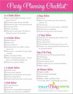 Captivating Party Planning Checklist   FREE Download