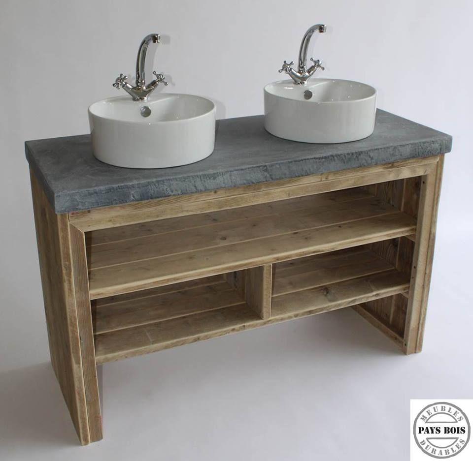meuble salle de bain pays bois avec plateau en bton cir