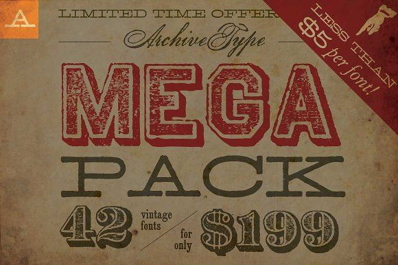 Limited Time Mega Pack Offer by Archive Type Fonts on @creativemarket