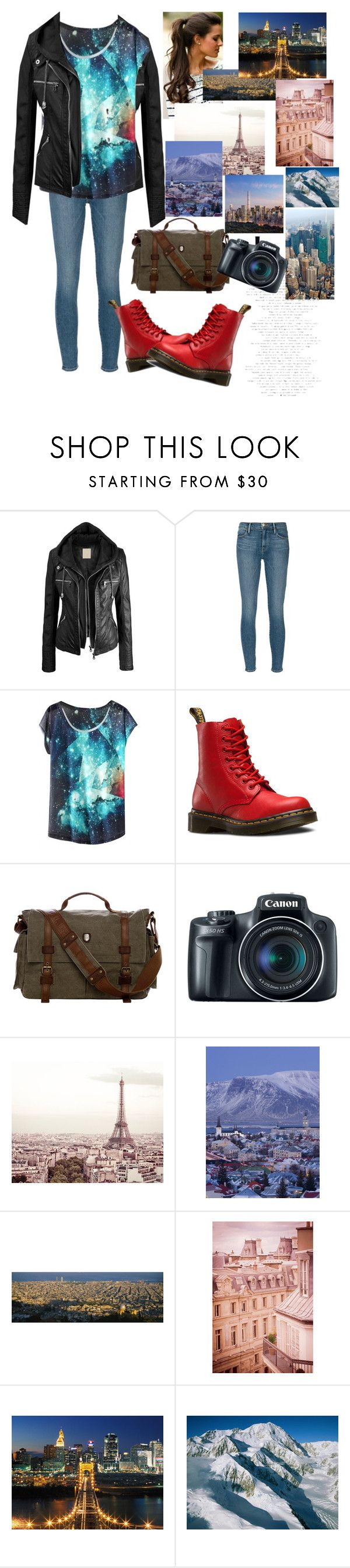 """Casual Camera"" by goar-sofia ❤ liked on Polyvore featuring Frame Denim, Dr. Martens and Avenue"