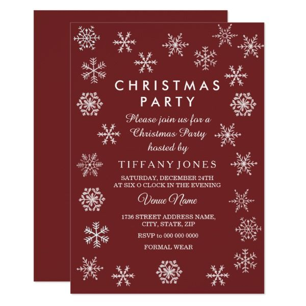 Burgundy Red Snowflake Christmas Party Invite Party invitations