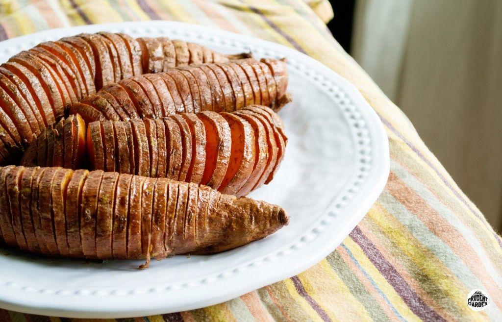 Hasselback Sweet Potatoes with Cinnamon and Brown Sugar   www.theprudentgarden.com   #sweetpotato #recipe