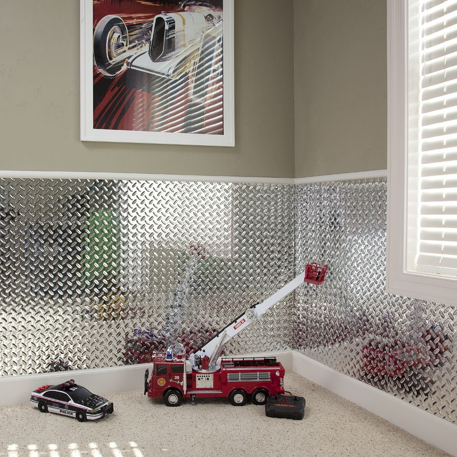 Slate Wall Panels Garage Man Cave Ideas Garage Storage: Fasade Wall Panel-Diamond Plate In Brushed Aluminum