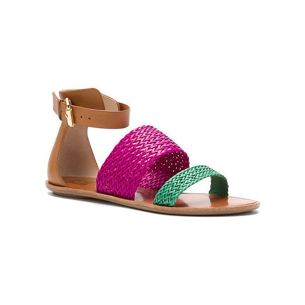 Dolce Vita Viera Ankle Strap Sandals ($29) ❤ liked on Polyvore featuring shoes, sandals, hot pink, ankle tie sandals, summer shoes, ankle wrap sandals, flat gladiator sandals and ankle strap gladiator sandals