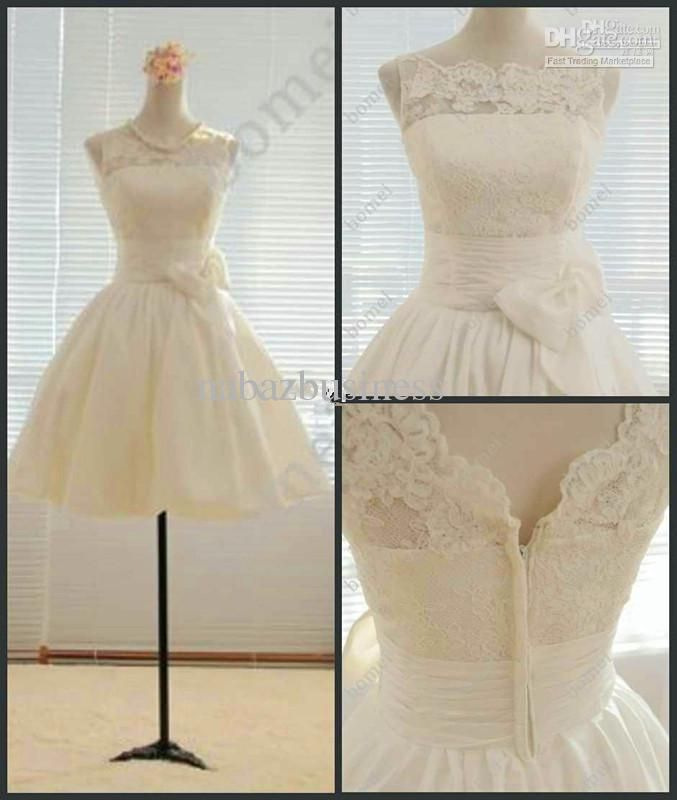 Actual Image Short Beach Wedding Dresses Jewel Lace A-Line Wedding Dresses | Buy Wholesale On Line Direct from China
