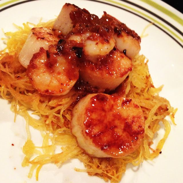Scallops & Shrimp with Lemon Garlic Butter on Spagetti Squash