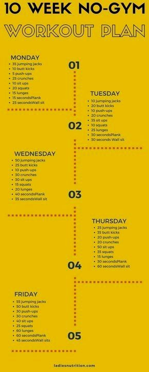 Regular Workout Is Very Important And Each Individual Should Workout No Matter How Busy They Are Sinc 10 Week No Gym Workout At Home Workout Plan Workout Plan