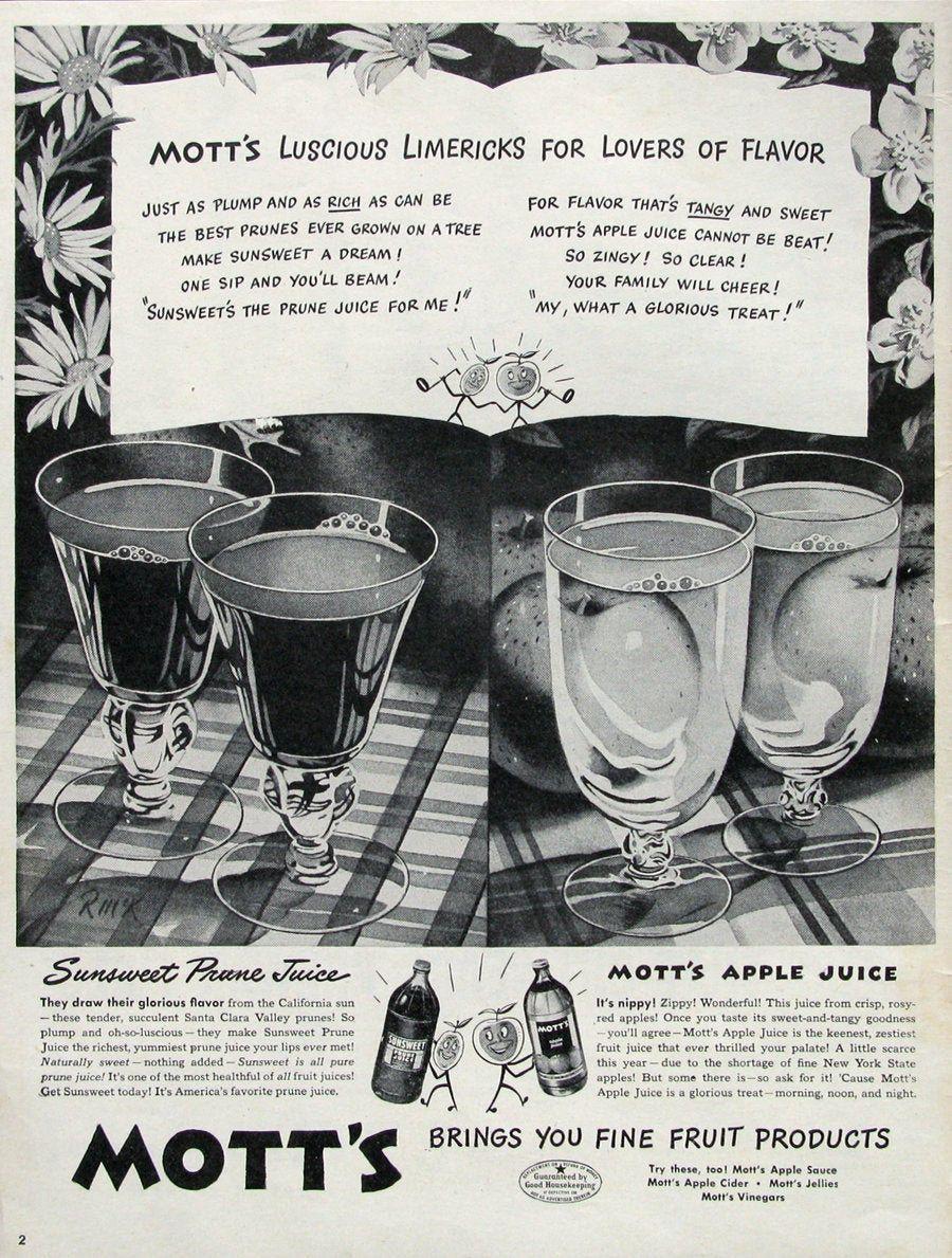 1946 Mott S Apple Juice Ad Sunsweet Prune Juice 1940s Etsy In 2020 Sunsweet Prunes Juice Ad Apple Juice
