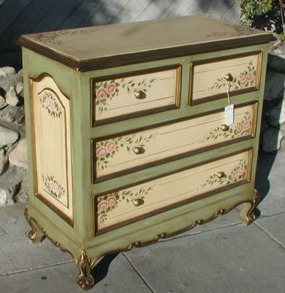 painted green furniture. Dresser In Olinda Romani\u0026 Pink Rose And Sage Green Design. Part Of Her French Hand Painted Furniture Collection.