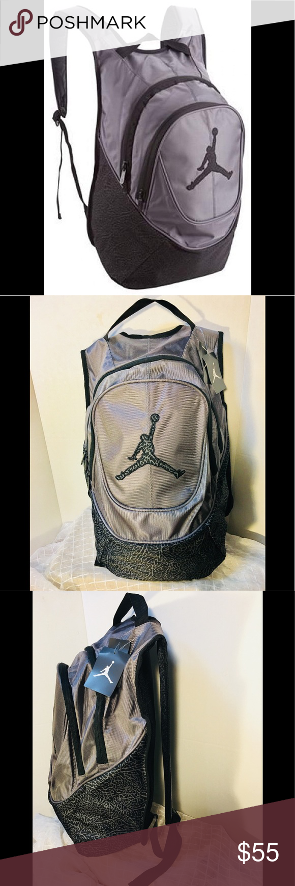 a2a8b27de86a35 AIR JORDAN GRAY ELEPHANT BACKPACK BRAND NEW WITH TAGS AIR JORDAN ELEPHANT  BACKPACK