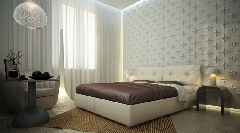Wanddeko für Schlafzimmer mit 3D-Wandpaneelen studio deseign
