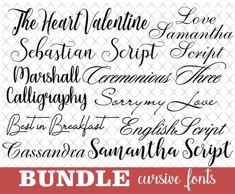 Download Bundle for Cricut Bundle cursive font svg Cricut font svg ...