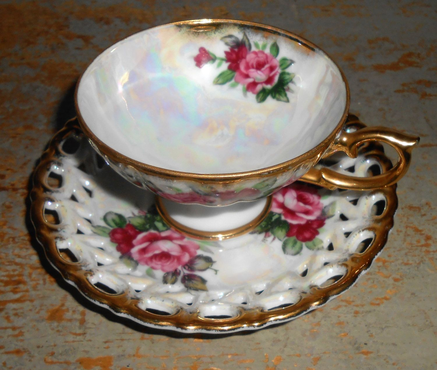 Vintage Tea Cup & Saucer, Shafford, Rose, Floral,  Gold,  Footed Tea Cup,  Iridescent, Tea Cup and Saucer by TheBackShak on Etsy