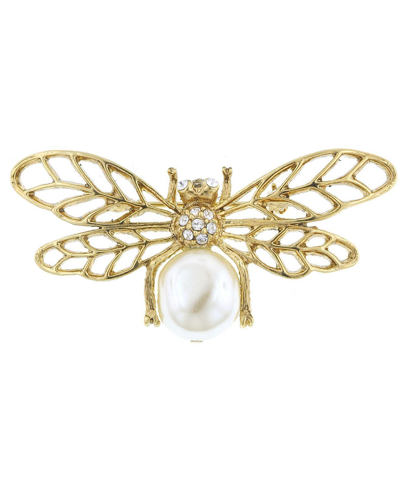 51246fe577b Acrylic Pearl Bee Pin - Macy's | My Style | Bee brooch, Brooch ...