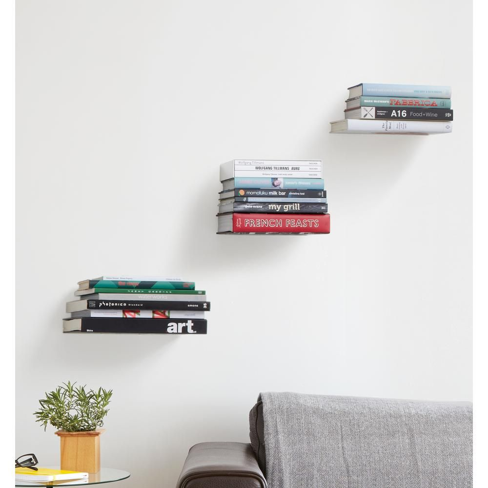 Umbra 5 5 In X 1 82 In Silver Conceal 3 Small Shelves 330639 560 With Images Floating Bookshelves Invisible Shelves Floating Wall Shelves